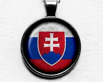Slovakia Slovakian Flag Pendant & Necklace