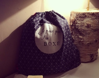 Navy blue fabric duffel bag
