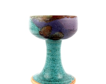 Goblet wine glass or chalice in sea green and eggplant purple with rutile accents
