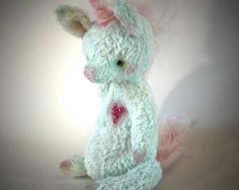 Handmade OOAK artist unicorn, teddy unicorn, collectible, teal unicorn