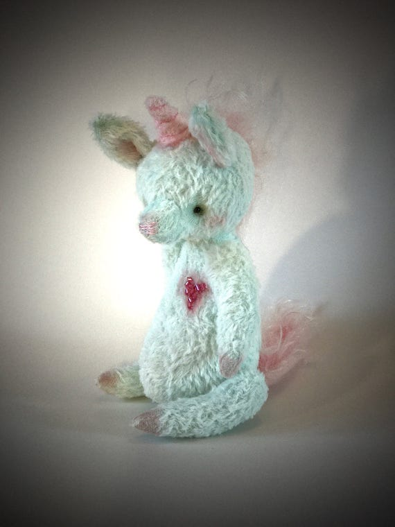 Handmade OOAK artist unicorn, teddy unicorn, collectible, teal unicorn