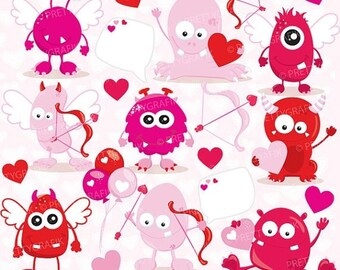 80% OFF SALE Valentine Monsters clipart commercial use, valentine vector graphics, monster digital clip art, digital images - CL779