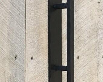 Rustic wrought iron door pull handle for sliding barn door