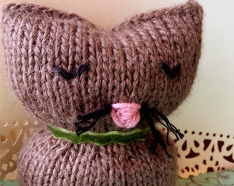 Knitted Fuzzy Brown Cat - Handknitted Plush Beanbag Stuffed Animal - Decorative Feline Plushy - Handmade Taupe Kitty Plush - Custom Cat