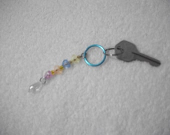 keyring, plastic heart and bead keyring, upcycled beads, recycled beads