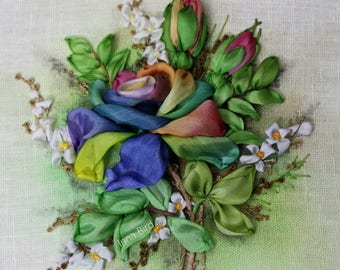 RAINBOW ROSE GREEN Textile Art Ribbon Embroidery Designed by Inna Bird