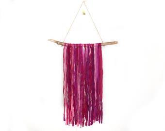 Fuschia Recycled Sari Silk and Driftwood Wall Hanging