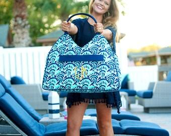 Make Waves Beach Bag Tote - May be Monogrammed - Bridesmaids Gift, Gym Bag, Diaper Bag - Navy Blue and Mint
