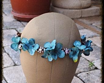 Dark Blue Hydrangea Floral and Crystal Vine Wedding Bridel Boho Headband Crown