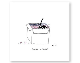 Sneak Attack- Cat Print- Ink Drawing- Funny Cat Art