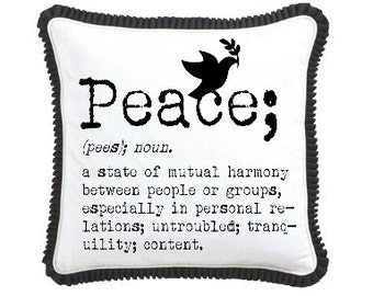 Peace Definition Dove Typewriter Digital Collage Collage Image Transfer Burlap Feed Sacks Canvas Pillows Tea Towels UPrint 300jpg