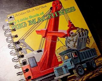 GOLDEN BOOK Big Machines Journal Notebook Vintage Altered Book SMALL