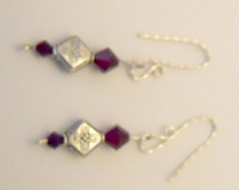 Earrings with Sterling Silver Diamond Shape and Swarovski Crystals