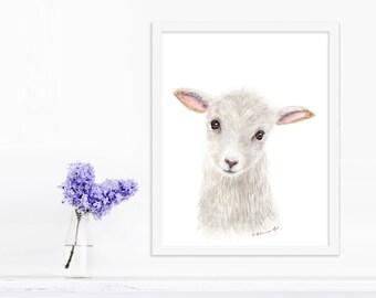 Farm Animal Art, Lamb Nursery Decor, Baby Animal, Sheep Nursery, Lamb Art, Farm Nursery, Lamb Nursery Art, Lamb Painting, Farm Decor