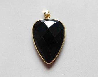 Black Agate Pendant with Electroplated Gold Edge - B1621