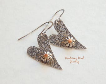 Silver Hearts, Fun Earrings, Riveted Mixed Metal Jewelry
