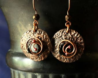 Hammered Copper Earrings, Rustic Antiqued Copper Boho Earrings Tribal Spiral Hammered Hippie Earrings Jewelry Handmade Gifts For Mom Wife