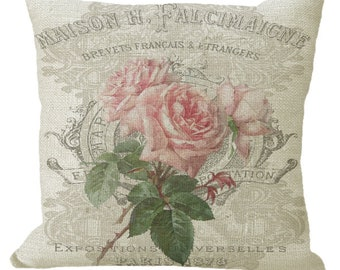 Pink Faded French Roses in Choice of 14x14 16x16 18x18 20x20 22x22 24x24 26x26 inch Pillow Cover