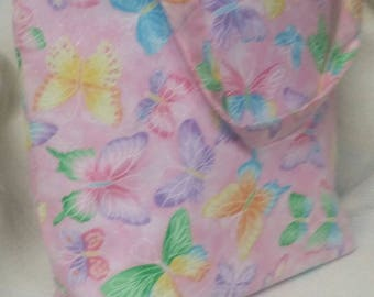 REALLY cute pink,blue, green pastel butterflies tote.