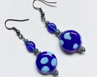 Blue Kazuri Earrings - Kazuri Beads from Kenya - Length 60mm approx