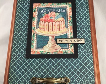 Altered cigar box-altered art-upscaled cigar box-unique-graphic45-gift for her-foodie gift-cake-pastries-french-france-parisian-cupcakes-