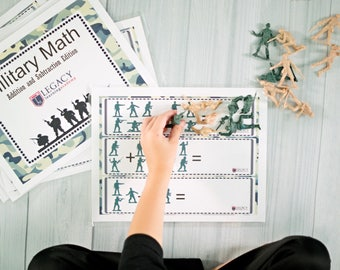 Military Math Activity, Addition and Subtraction Games, Fun Math Activity