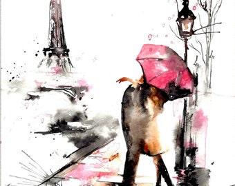 Paris in Rain Print from Original Watercolor Illustration - Travel Paris Red Umbrella Watercolor - Art Print