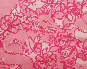 "pink she's a fox poplin cotton fabric square 10""x10"" ~ lilly pulitzer"