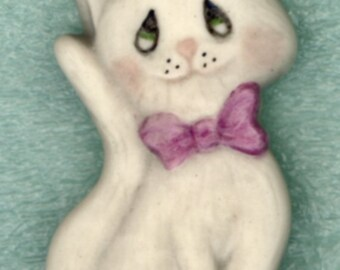 Cute Cat Button..China Painted Porcelain