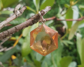 Tangerine Aura Flower of Life Pendant - set in Sterling Silver - A Grade !  Powerful