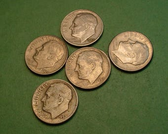 5 Pcs Different US Silver Dimes for Ten American Dollars<> Great Survival Money <> The Coins you see are the coins you get<> # ET2225