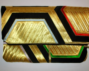 Red with Gold Hexagons Two-way Fold Over Obi Silk Clutch Purse