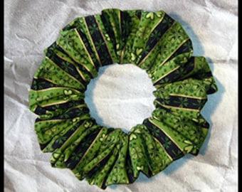 St. Patrick's Clover Stripe Hair Scrunchie, Fabric Ponytail Holder, Hair Tie