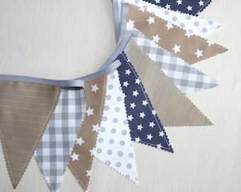 Flag Bunting, Fabric Garland,  Beige & gray, Baby Nursery Bunting, Pennant Banner, Grey Nursery Decor