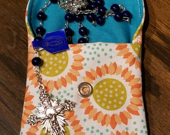 Rosary / Coin Fabric Purse with Metal Snap Closure - Sunflowers with Teal Interior