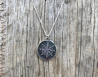 Compass Silver Wax Seal Stamp Necklace