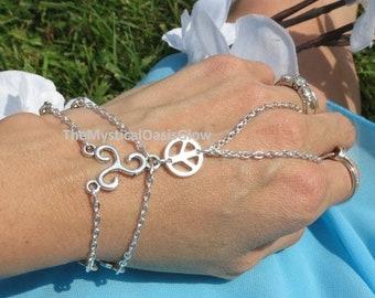 Trinity Peace Slave Bracelet, Ring Bracelet, Hand Chain, Hand Jewelry, Bracelet, Adjustable,Custom Sizing, Sized, Body Jewelry, Body C