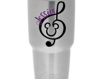 Mickey Mouse Treble Clef Personalized Music Note Decal - Disney