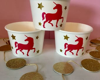 Unicorn Party Cups, Unicorn Party Favor Cups, Girl's Birthday Party, Unicorn Treat Cups, Pink And Gold Party, 1st Birthday, Baby Shower