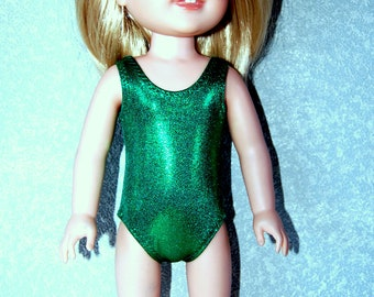 "Swimsuit for 14.5"" Wellie Wishers or Melissa & Doug Doll Clothes Dark Kelly Green Sparkle tkct1224 READY TO SHIP"