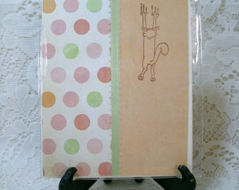 2334:cLEARANCE CARDS. Scratching Kitty card, Blank inside, set of 3 matching cards