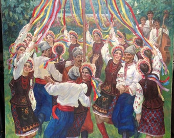 """The original picture of the USSR """"Dance over the Dnieper"""", the artist Zakharov AN. 1984"""