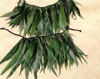 Silk Green Leaf Arm Bands Or Knee Bands. Perfect For Both Male & Female. Luau, Polynesian Costumes.  One Set Only.