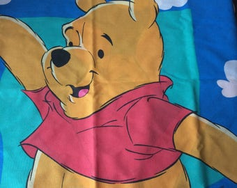 Winnie the Pooh and Piglet, flat sheet and standard pillowcase, Disney, vintage, used