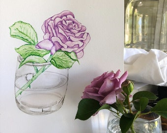 Rose watercolor study