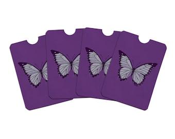 Butterfly artsy purple credit card rfid blocker holder protector wallet purse sleeves set of 4