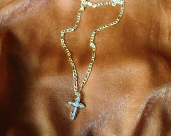Lost Love Cross Necklace - Gold Necklace - Gold Chain - Rosary - Religious