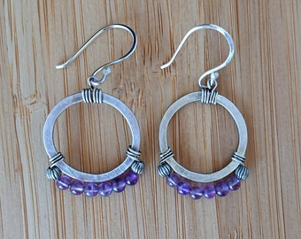 Hammered Sterling Silver & Amethyst Hoop Earrings