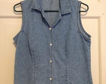 90s Denim Sleeveless Collar Button Up Shirt