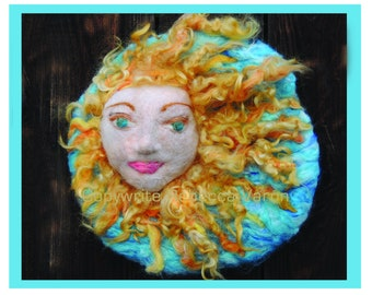 Printed Note Card - Sun Shines Upon All of Us-image from soft sculpture wool painting by Rebecca Varon Nushkie Design